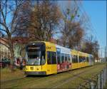 Tram N° 2824 is running through St. Petersburger Straße in Dresden on December 28th, 2012.