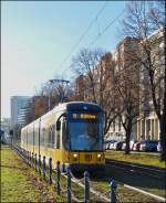 Tram N° 2817 is running through St. Petersburger Straße in Dresden on December 28th, 2012.