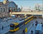 Tram N° 2811 is arriving at the stop Dresden main station on December 28th, 2012.