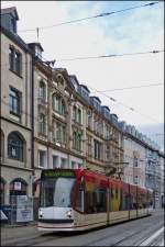 Tram N° 641 is running through Bahnhofstraße in Erfurt on December 26th, 2012.