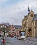 Tram N° 654 is running on Erfurt Fischmarkt on December 26th, 2012.