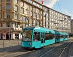 . Tram N° 020 is running in front of the main station in Frankfurt am Main on February 28th, 2015.