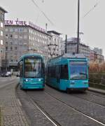 . Meeting of two trams near the main station in Frankfurt am Main on February 28th, 2015.