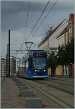 A Rostock Tram by the Market PLace.