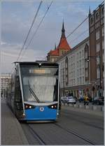 A Rostock Tram by the  Lange Strasse .