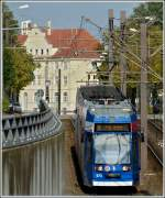 Tram N° 673 pictured near the main station of Rostock on September 24th, 2011.