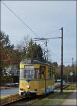 Tram N° 31 to Woltersdorf Schleuse is arriving at the stop Goethestraße in Woltersdorf on December 27th, 2012.