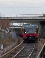 A S-Bahn train class 480 is arriving in Berlin Westkreuz on December 25th, 2012.