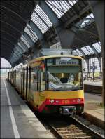 Tram N° 885 pictured in Karlsruhe main station on September 11th, 2012.