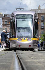 Tram Luas 5028 in Parnell Street, Dublin. PArnell is a stop on the green Line from Broombridge to Bride's Glen. 