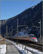 A FS trenitalia ETR 610 from Luzern to Milano in Göschenen.