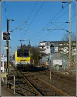 3013 is hauling the IR 117 Liers - Luxembourg City through Schieren on March 1st, 2012.