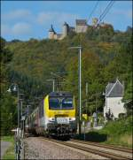 3017 is hauling the IR 115 Liers - Luxembourg City through Michelau on October 10th, 2012.
