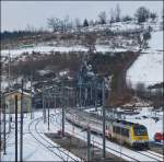The IR 115 Liers - Luxembourg City is entering into the station of Troisvierges on February 13th, 2013.