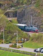 . The heritage BB 3608 is leaving the Scheidemühle tunnel in Clervaux on April 21st, 2014.