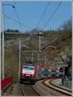 The IR 3737 Troisvierges - Luxembourg City is leaving the tunnel Kirchberg just before arriving at the station of Kautenbach on April 3rd, 2012.