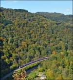 The IR 3737 Troisvierges - Luxembourg City is running between Goebelsmühle and Michelau on October 10th, 2012.