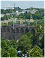 Z 2006 is running on the Pulvermühle viaduct in Luxembourg City on July 3rd, 2012.