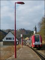 Z 2223 as RB 3240 Wiltz - Luxembourg City is leaving the stop Michelau on February 21st, 2013.