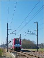 . The RB 4738 Rodange - Luxembourg City is running between Bascharage and Schouweiler on March 4th, 2013.