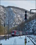 . The IR 3714 Luxembourg City - Troisvierges is arriving in Kautenbach on March 25th, 2013.