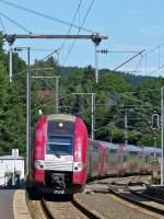 . 2200 double unit as IR 3735 Troisvierges - Luxembourg City is arriving in Wilwerwiltz on July 15th, 2014.