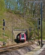 . Z 2203 is leaving the tunnel Cruchten on April 21st, 2015.