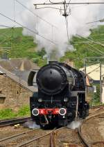. The steam locomotive 5519 is entering into the station of Waaserbillig on April 26th, 2014.