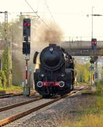 . The steam engine 5519 is entering into the station of Perl on October 19th, 2014.