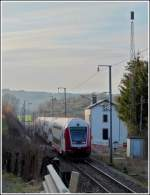 A push-pull train photographed in Lellingen on its way from Luxembourg City to Troisvierges on March 20th, 2012.