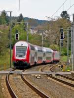 . The IR 3735 Troisvierges - Luxembourg City is entering into the station of Wilwerwiltz on April 26th, 2014.