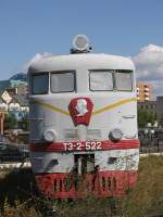 Diesel locomotive T3-2-522 with Joseph Stalin on the front in the railway museum of Mongolia in Ulaanbaatar on 16-9-2009.