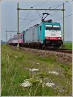 The TRAXX 2811 is heading the IC Amsterdam - Antwerpen near Zevenbergen on September 3rd, 2011.