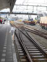 Platform 1 in Rotterdam central station has been enlarged on a special way because of the Thalys trains.