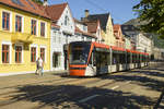 Bergen Light Rail: Tram 203 in Kaigaten in the city centre of Bergen.
