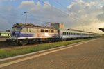 On 1 May 2016 EP07-450 catches the last sunlight at Warszawa Zachodnia.