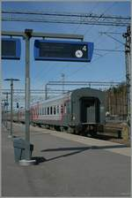 A international Overnight train to Mokva si waiting his departure time in Helsinki.