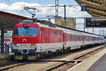ZSSK Gorilla 350 015 starts with an IC service to Bratislava on a four hour journey at Kosice on 14 May 2018.