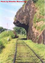 Lions Mouth -Train travers underneath an overhanging rock which looks similar to a shape of a lions mouth.