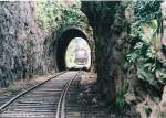 Class W3 locomotive passes through a series of tunnels in the Kadugannawe line.