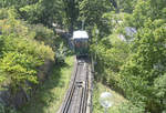 The funicular railway at Skansen in Stockholm.The funicular is 196.4 meters long, with a total rise of 34.57 meters.