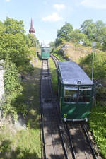 The funicular railway at Skansen in Stockholm. Since 1897, Skansen has been served by the Skansens Bergbana, a funicular railway on the northwest side of the Skansen hill. 