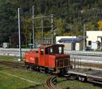 Bernese Oberland Railway shunting locomotive BOB 1 (Chrigel) a Tm 2/2 on 30.09.2011 at Interlaken Ost, from the depot of the Ballenberg steam railway.