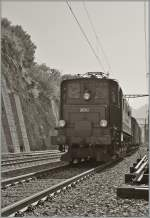 The BB Ae 4/7 with a Cargo Train in Ausserberg.