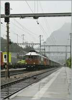 1913 - 2013: 100 years BLS : The BLS Ae 6/8 208 and 205 are arriving at Kandersteg. 29.06.2013