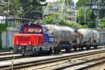 On 5 June 2014 SBB 923 020 shunts at Spiez.