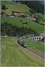 The BLS Re 4/4 II 502 with a RE to Interlaken by Garstatt.