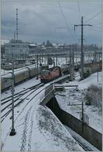 SBB Re 4/4 II 11246 with a Cargo Train in the big Lausanne Triage Station.