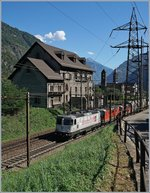 The  Gotthard  Re 4/4 and two other one wiht a Cargo train by Giornico.