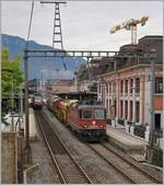 SBB Re 420 247-9 with a Cargo Train in Montreux.